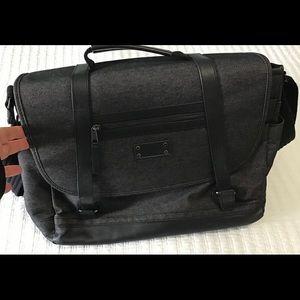 Renwick Black Laptop Messenger Bag Leather/Jean